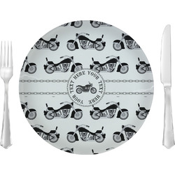 """Motorcycle 10"""" Glass Lunch / Dinner Plates - Single or Set (Personalized)"""