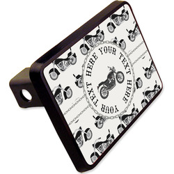 """Motorcycle Rectangular Trailer Hitch Cover - 2"""" (Personalized)"""