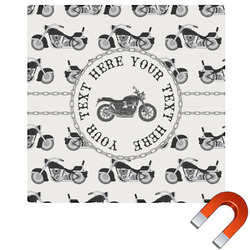 """Motorcycle Square Car Magnet - 6"""" (Personalized)"""