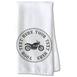Motorcycle Waffle Weave Kitchen Towel - Partial Print (Personalized)