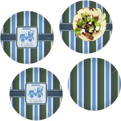 BM Stripes Set of 4 Lunch / Dinner Plates (Glass) (Personalized)
