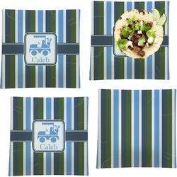 BM Stripes Set of 4 - Square Dinner Plates (Personalized)