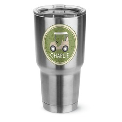 Golfer's Plaid 30 oz Silver Stainless Steel Tumbler w/Full Color Graphics (Personalized)