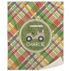 Golfer's Plaid Sherpa Throw Blanket (Personalized)