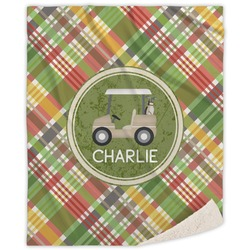 Golfer's Plaid Sherpa Throw Blanket (Personalized)