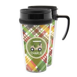 Golfer's Plaid Acrylic Travel Mugs (Personalized)