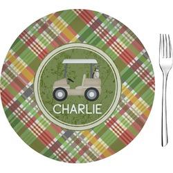"Golfer's Plaid 8"" Glass Appetizer / Dessert Plates - Single or Set (Personalized)"