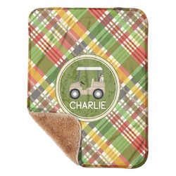 "Golfer's Plaid Sherpa Baby Blanket 30"" x 40"" (Personalized)"
