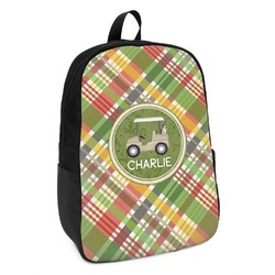 Golfer's Plaid Kids Backpack (Personalized)