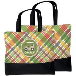 Golfer's Plaid Beach Tote Bag (Personalized)