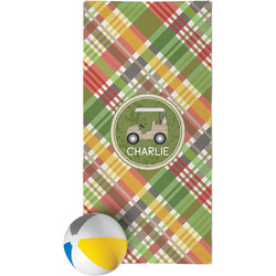 Golfer's Plaid Beach Towel (Personalized)