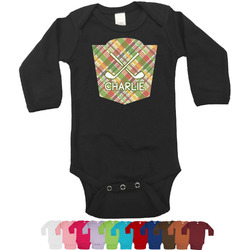 Golfer's Plaid Bodysuit - Long Sleeves - 0-3 months (Personalized)