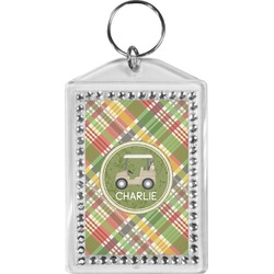 Golfer's Plaid Bling Keychain (Personalized)