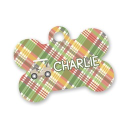 Golfer's Plaid Bone Shaped Dog Tag (Personalized)