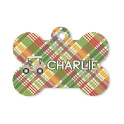 Golfer's Plaid Bone Shaped Dog ID Tag (Personalized)