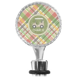 Golfer's Plaid Wine Bottle Stopper (Personalized)