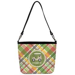 Golfer's Plaid Bucket Bag w/ Genuine Leather Trim (Personalized)