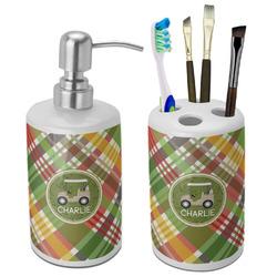 Golfer's Plaid Ceramic Bathroom Accessories Set (Personalized)
