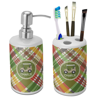 Golfer's Plaid Ceramic Bathroom Accessories Set (Personalized)