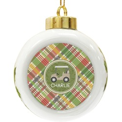 Golfer's Plaid Ceramic Ball Ornament (Personalized)