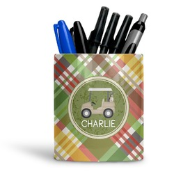 Golfer's Plaid Ceramic Pen Holder