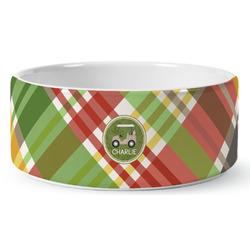 Golfer's Plaid Ceramic Pet Bowl (Personalized)