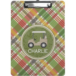 Golfer's Plaid Clipboard (Personalized)