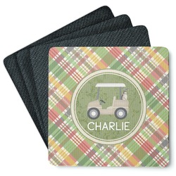 Golfer's Plaid 4 Square Coasters - Rubber Backed (Personalized)