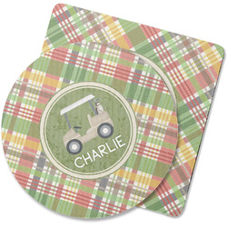 Golfer's Plaid Rubber Backed Coaster (Personalized)