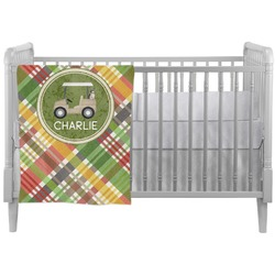 Golfer's Plaid Crib Comforter / Quilt (Personalized)
