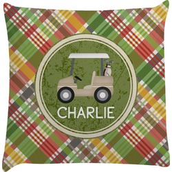 Golfer's Plaid Decorative Pillow Case (Personalized)