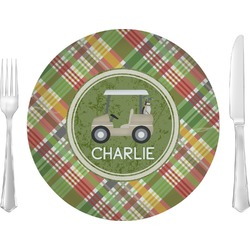 """Golfer's Plaid 10"""" Glass Lunch / Dinner Plates - Single or Set (Personalized)"""