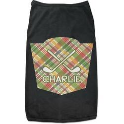 Golfer's Plaid Black Pet Shirt - S (Personalized)