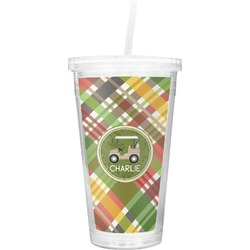 Golfer's Plaid Double Wall Tumbler with Straw (Personalized)