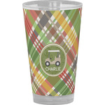 Golfer's Plaid Drinking / Pint Glass (Personalized)