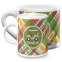 Golfer's Plaid Espresso Cups (Personalized)