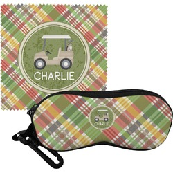 Golfer's Plaid Eyeglass Case & Cloth (Personalized)