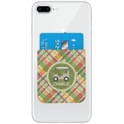 Golfer's Plaid Genuine Leather Adhesive Phone Wallet (Personalized)