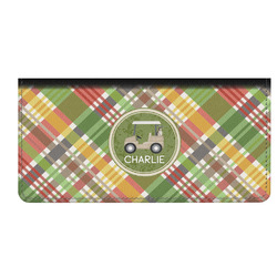 Golfer's Plaid Genuine Leather Checkbook Cover (Personalized)