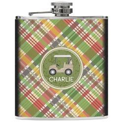 Golfer's Plaid Genuine Leather Flask (Personalized)