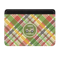 Golfer's Plaid Genuine Leather Front Pocket Wallet (Personalized)