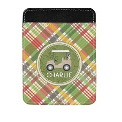 Golfer's Plaid Genuine Leather Money Clip (Personalized)