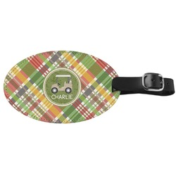 Golfer's Plaid Genuine Leather Oval Luggage Tag (Personalized)