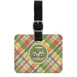 Golfer's Plaid Genuine Leather Rectangular  Luggage Tag (Personalized)