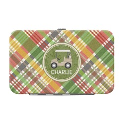 Golfer's Plaid Genuine Leather Small Framed Wallet (Personalized)