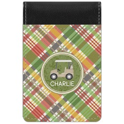 Golfer's Plaid Genuine Leather Small Memo Pad (Personalized)