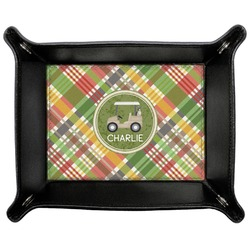 Golfer's Plaid Genuine Leather Valet Tray (Personalized)