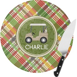 Golfer's Plaid Round Glass Cutting Board (Personalized)