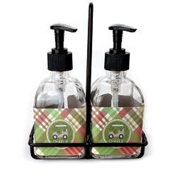 Golfer's Plaid Soap & Lotion Dispenser Set (Glass) (Personalized)