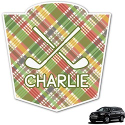 Golfer's Plaid Graphic Car Decal (Personalized)